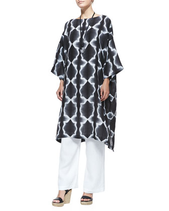 3/4-Sleeve Printed Tunic Dress