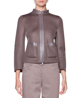 Leather-Trim Mesh Jacket