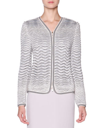 Textured Knit-Jacquard Jacket