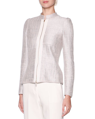 Grosgrain Trim Metallic Tweed Jacket