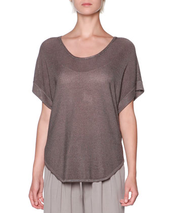 Oversized Short-Sleeve Knit Tunic, Taupe