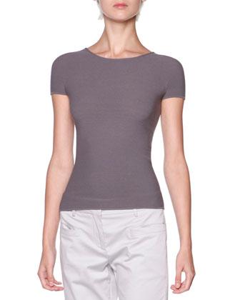 Silk Ottoman Knit Short-Sleeve Top