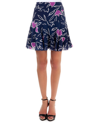 Floral-Print Skirt, Marine Navy