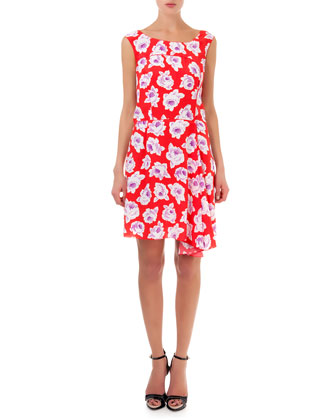 Floral Silk Bias-Cut Dress, Vermillion