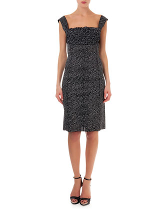 Ruffle-Top Dot-Print Sheath Dress, Black/White