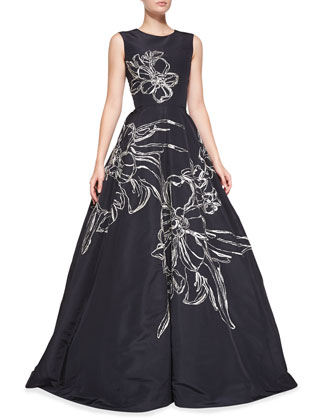 Sleeveless Floral-Embroidered Gown, Navy