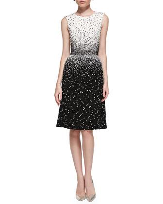 Sleeveless Dotted Dress, Ivory/Black