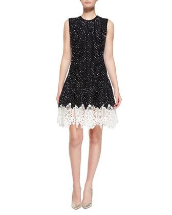Sleeveless Dotted Lace-Bottom Dress