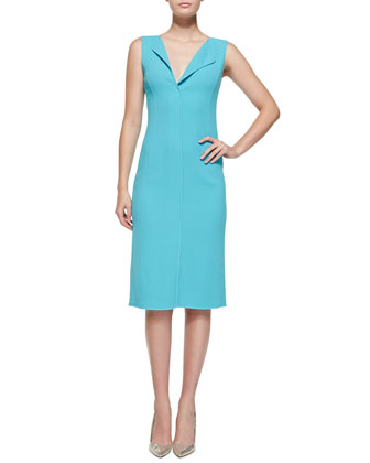 Sleeveless Fold-Collar Sheath Dress