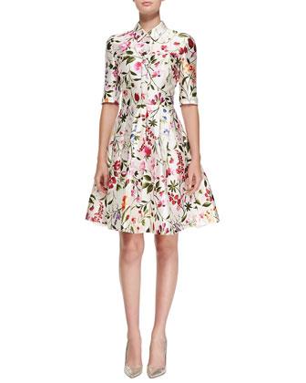 Half-Sleeve Floral-Print Shirtdress