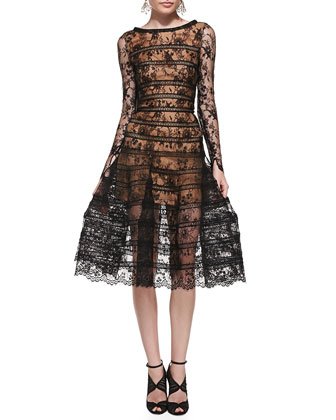 Long-Sleeve Lace Overlay Midi Dress