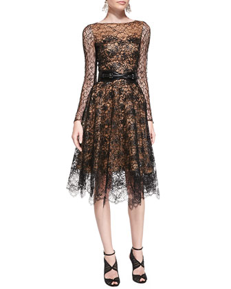 Long-Sleeve Lace Overlay Dress