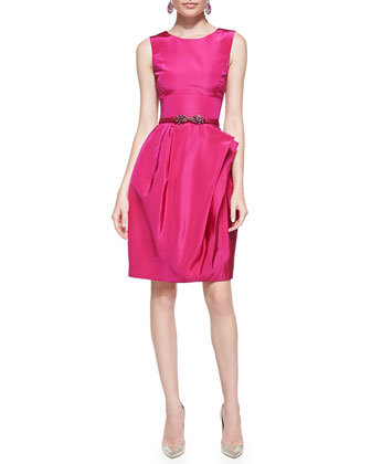 Full-Skirt Silk Dress, Magenta