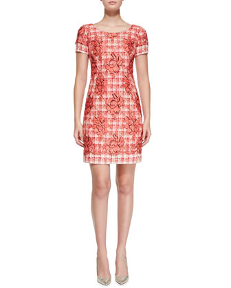 Short-Sleeve Floral Tweed Sheath Dress