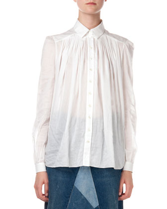Button-Down Shirt with Pleated Detail