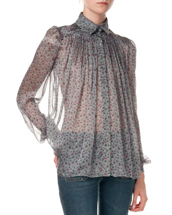Button-Down Pleated Floral Blouse