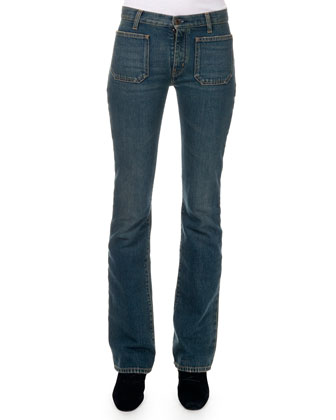 Flared Jeans w/ Front Patch Pockets