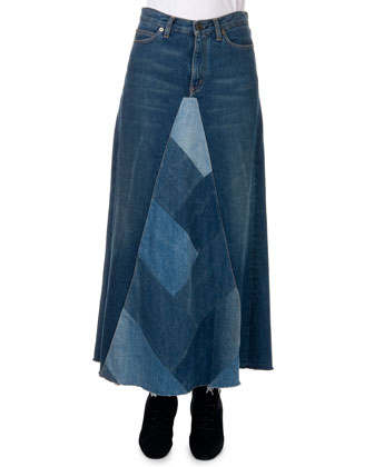 Denim Patchwork A-Line Maxi Skirt