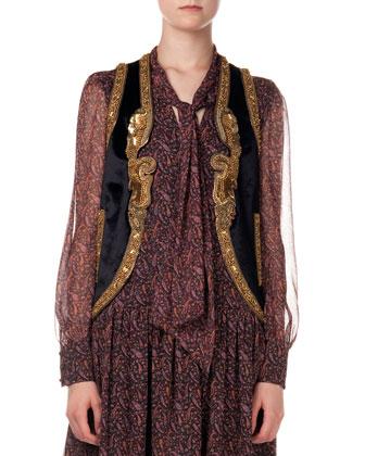 Metallic Embroidered Velvet Vest