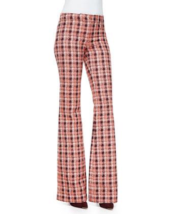 Novelty Plaid Flare Trousers, Orange/Multi