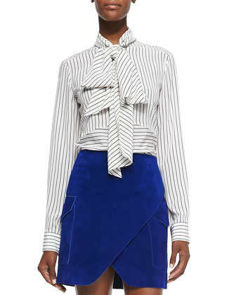 Striped Silk Crepe Tie-Neck Blouse