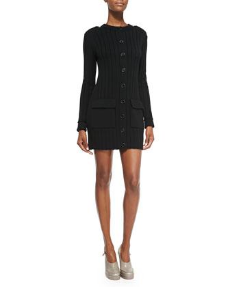 Long-Sleeve Button-Down Sweaterdress