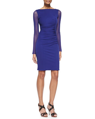 Sheer-Sleeve Bateau Sheath Dress