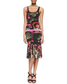 Printed Fringe-Bottom Tank Dress