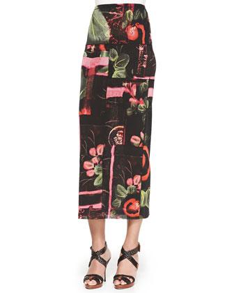 Long Printed Tube Skirt
