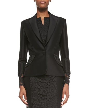 Floral-Lace Cuff Jacket, Black