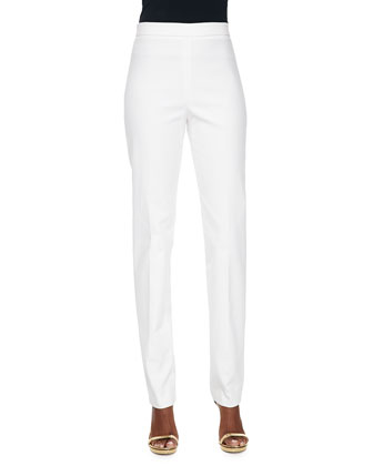 Stretch Cotton-Blend Skinny Pants, White