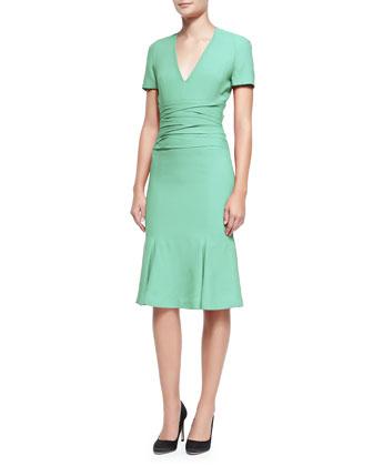 V-Neck Dress with Gathered Waist