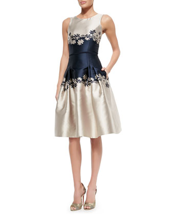 Sleeveless Two-Tone Dress W/ Daisies