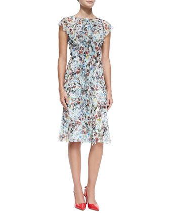 Ruffle-Front Crinkled Botanical Dress