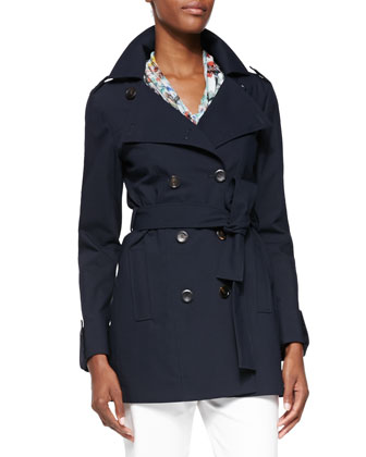 Bonded Double-Breasted Trench Coat, Navy