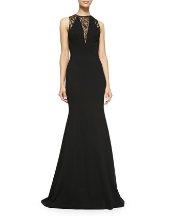 Lace & Jersey Trumpet Gown