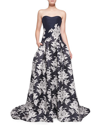 Strapless Lace-Print A-Line Gown