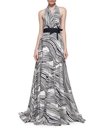 Wave-Striped Halter Gown