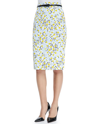 Belted Daisy Pencil Skirt