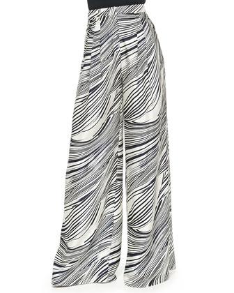 Wave-Striped Wide-Leg Pants