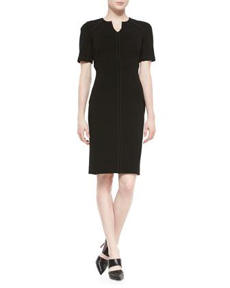 Half-Sleeve Stretch-Wool Sheath Dress