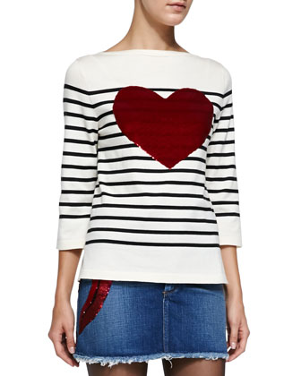 3/4-Sleeve Striped Top W/ Heart