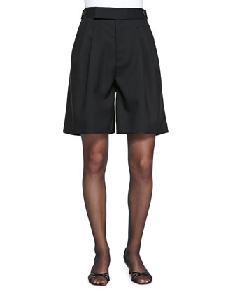 High-Waist Pleated Wide-Leg Shorts
