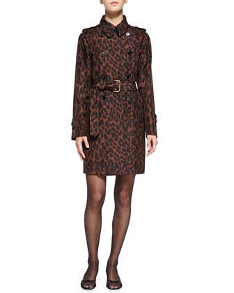 Leopard-Print Silk Trenchcoat