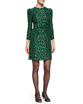 3/4-Sleeve Leopard-Print Bow-Waist Sheath Dress