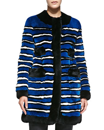 Striped Rabbit Fur Coat with Pockets