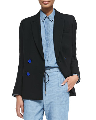 Double-Breasted Blazer, Black