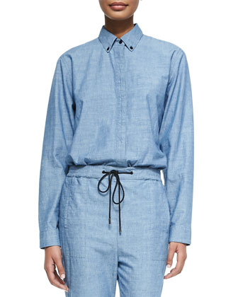 Long-Sleeve Chambray Tunic, Blue