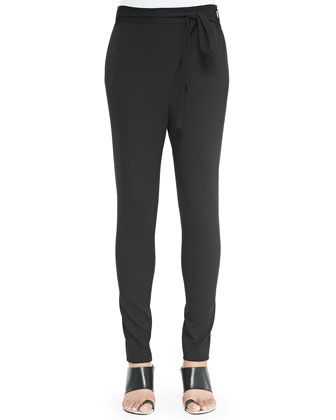 Asymmetric-Tie Pants, Black
