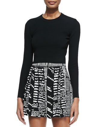 Long-Sleeve Cropped Sweater, Black